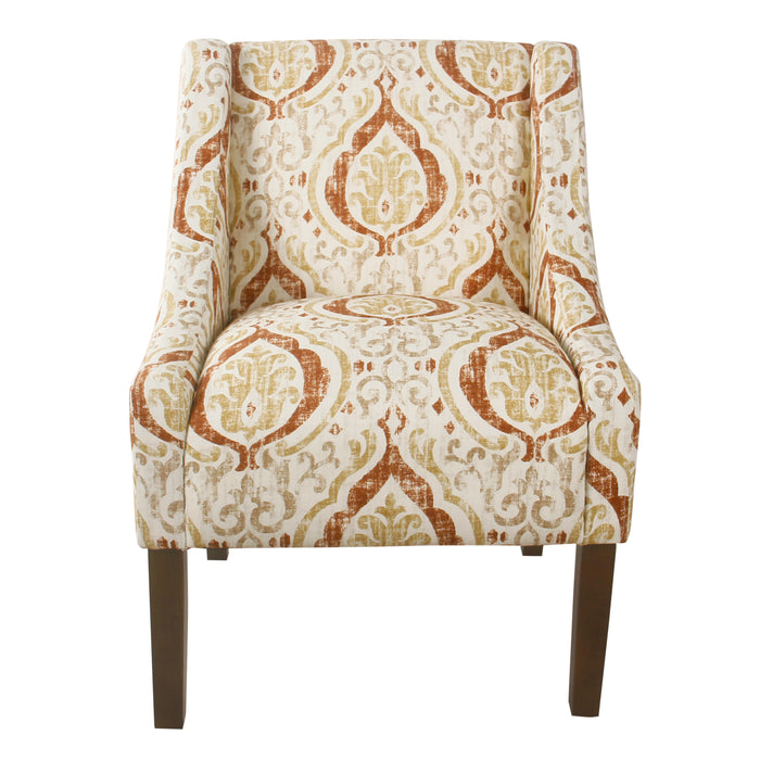 HomePop Modern Swoop Arm Accent Chair - Orange and Cream Medallion