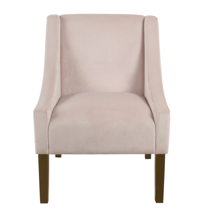 Modern Velvet Swoop Arm Accent Chair - Pink Blush