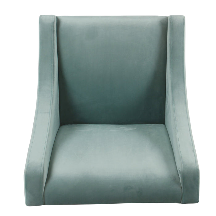 Modern Velvet Swoop Arm Accent Chair - Aqua Velvet