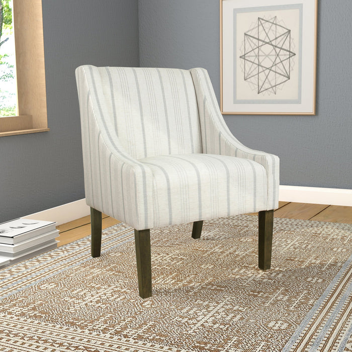 Modern Swoop Accent Chair - Dove Grey Stripe