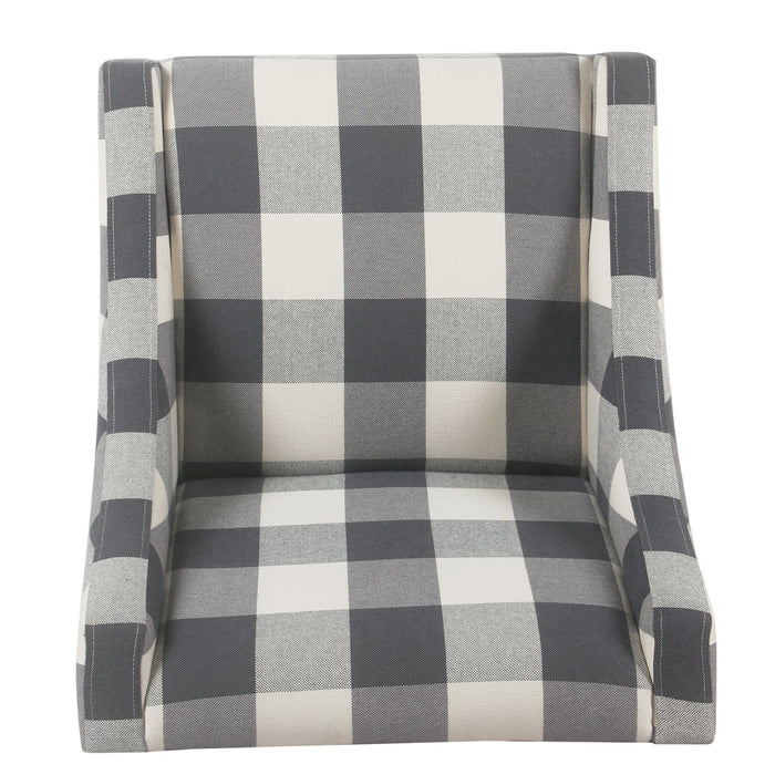 Modern Swoop Arm Accent Chair - Blue Plaid