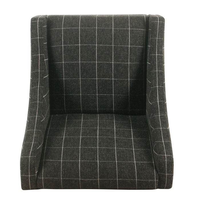 Modern Swoop Arm Accent Chair - Black Windowpane