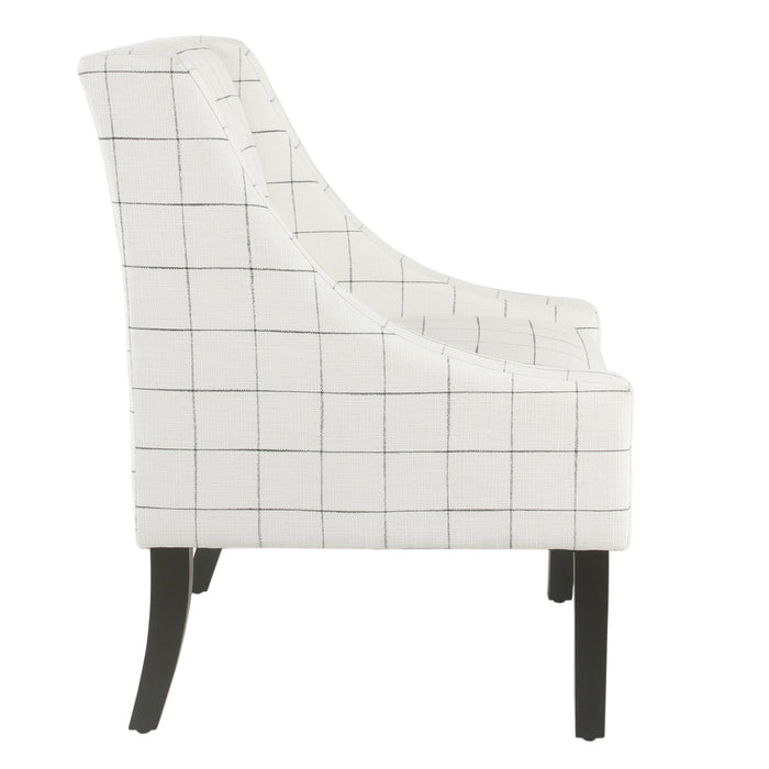 Modern Swoop Arm Accent Chair - White Windowpane