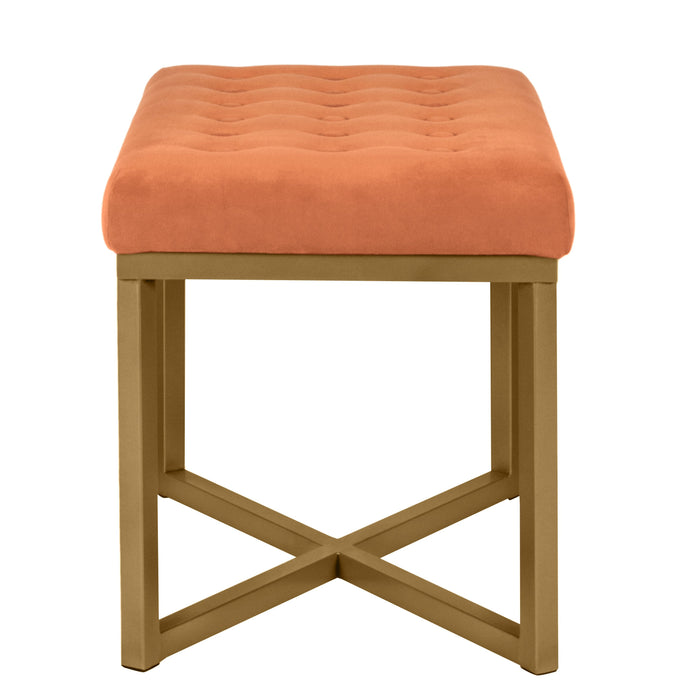 Velvet Tufted Metal Ottoman - Orange