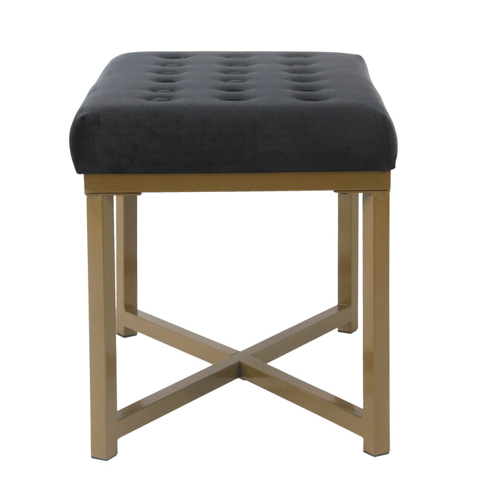 Velvet Tufted Metal Ottoman - Black