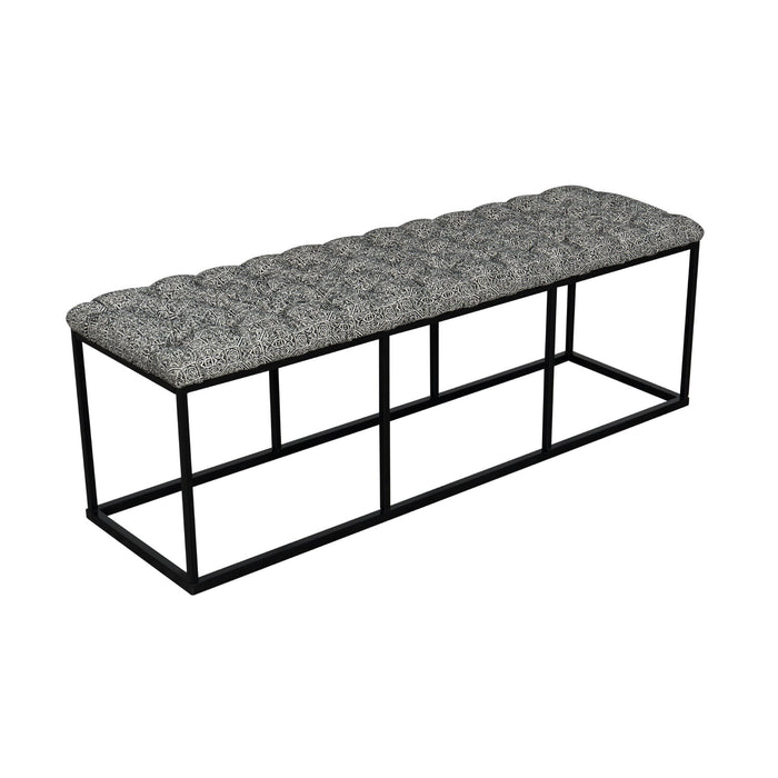 Metal Bench with Button Tufting - Global Print