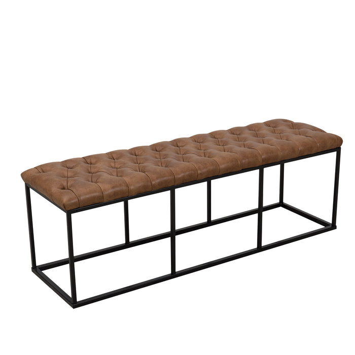 Metal Bench with Button Tufting - Distressed Brown Faux Leather