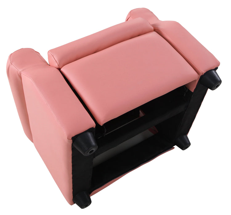 Kids Recliner in Pink Faux Leatherl