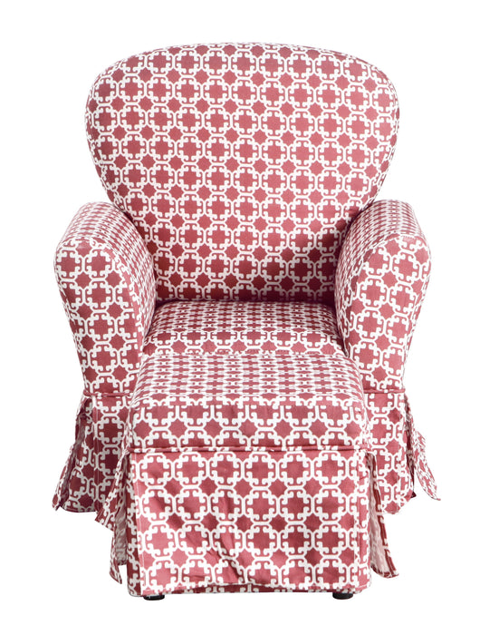 Kids Chair and Ottoman - Pink and White Lattice