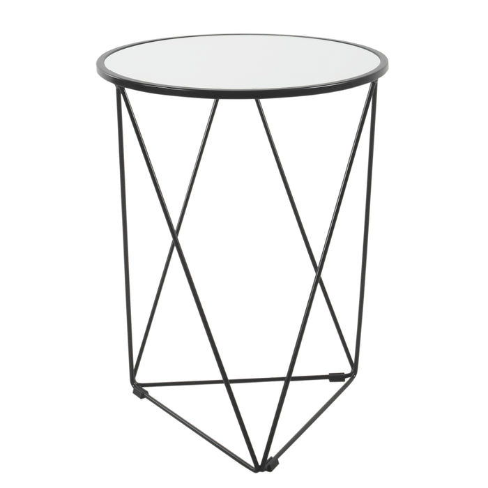 Metal Accent Table Triangle  Base Round Glass Top - Black