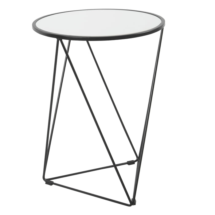 Metal Accent Table Triangle  Base Round Mirror Top - Black