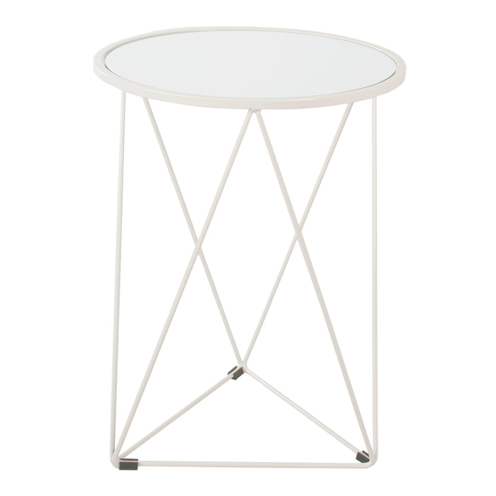 Metal Accent Table Triangle  Base Round Glass Top - White