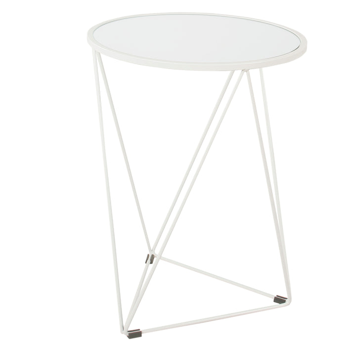 Metal Accent Table Triangle  Base Round Mirror Top - White