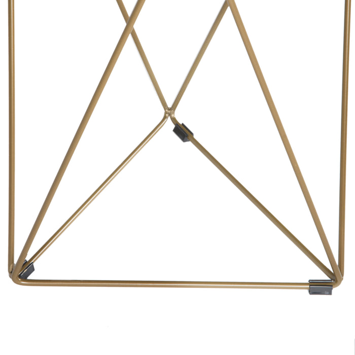 Metal Accent Table Triangle Base Round Glass Top - Gold