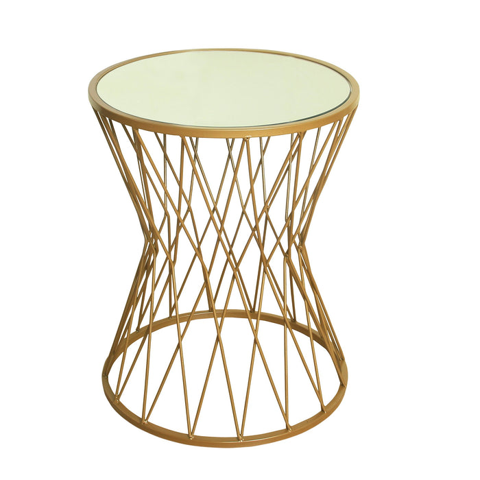 Hourglass Metal Accent Table  Mirror Top - Gold
