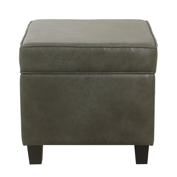 Square Ottoman with Lift Off Top - Gray Faux Leather