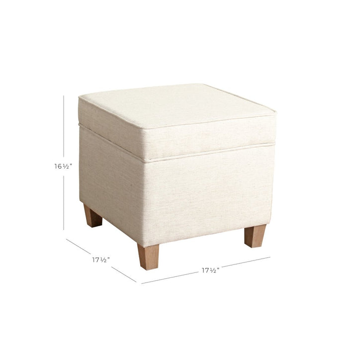 Square Ottoman with Lift Off Top - Cream Woven