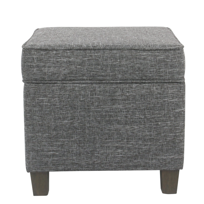 Square Ottoman with Lift Off Top - Gray Woven