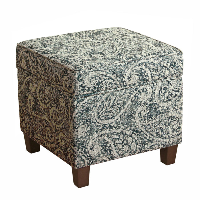 Square Ottoman with Lift Off Top - Distressed Paisley