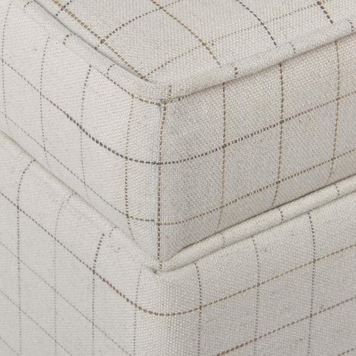 Square Ottoman with Lift Off Top - Natural Windowpane