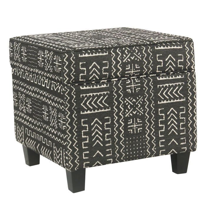 Square Ottoman with Lift Off Top - Onyx