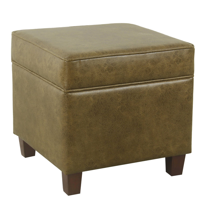 Square Ottoman with Lift Off Top - Distressed Brown Faux Leather