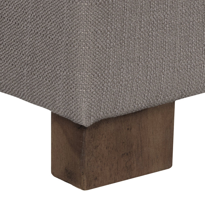 Large Tufted Storage Bench - Taupe Woven