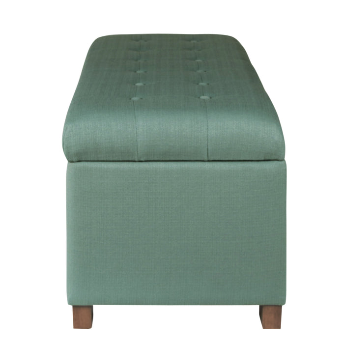 Large Tufted Storage Bench - Teal Woven