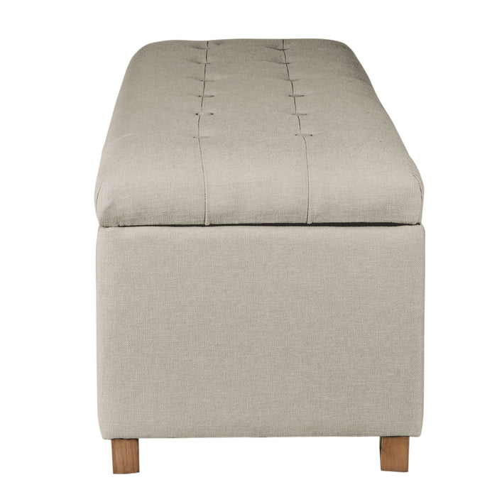 Large Tufted Storage Bench - Neutral Cream