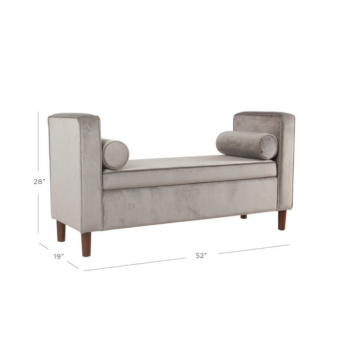 Modern Velvet Storage Bench with pillows - Gray