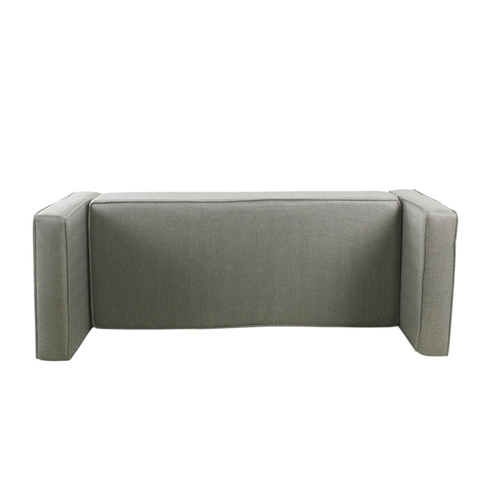 Modern Storage Bench with pillows - Gray Woven