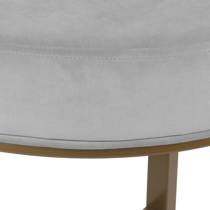 Round Velvet Stool Metal Base - Gray