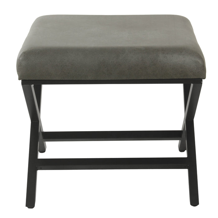 Modern Metal X-base Ottoman - Gray Faux Leather