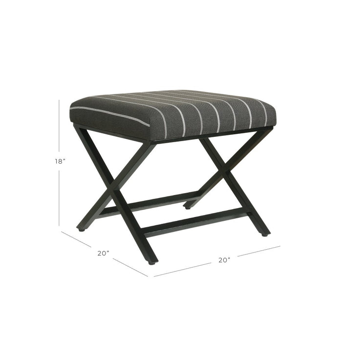 Modern Metal X-base Ottoman - Charcoal Stripe