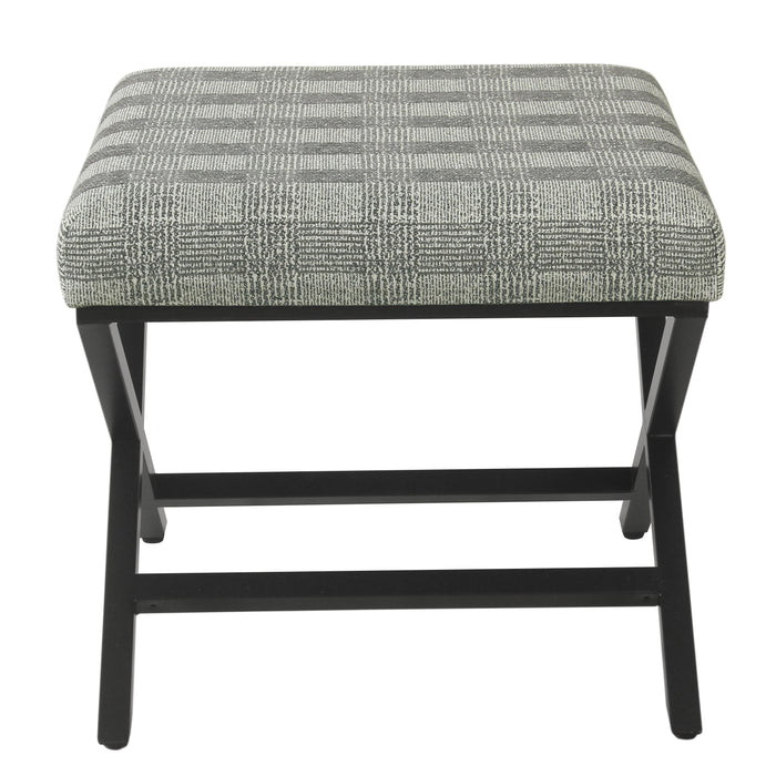 Modern Metal X-base Ottoman  - Light Gray Plaid