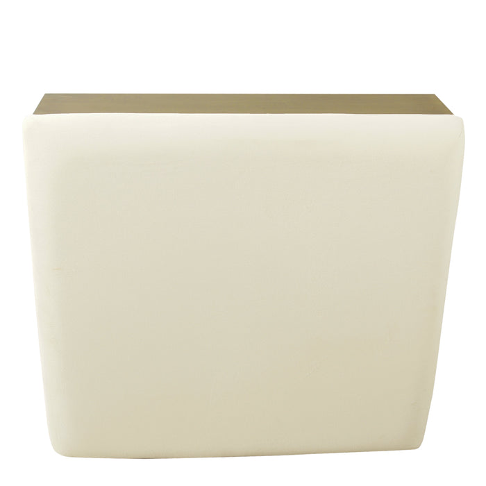 Wood and Metal Upholstered Storage Ottoman - Cream