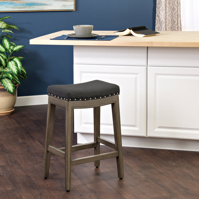 "24"" Counter Stool Saddle Seat - Gray Woven"