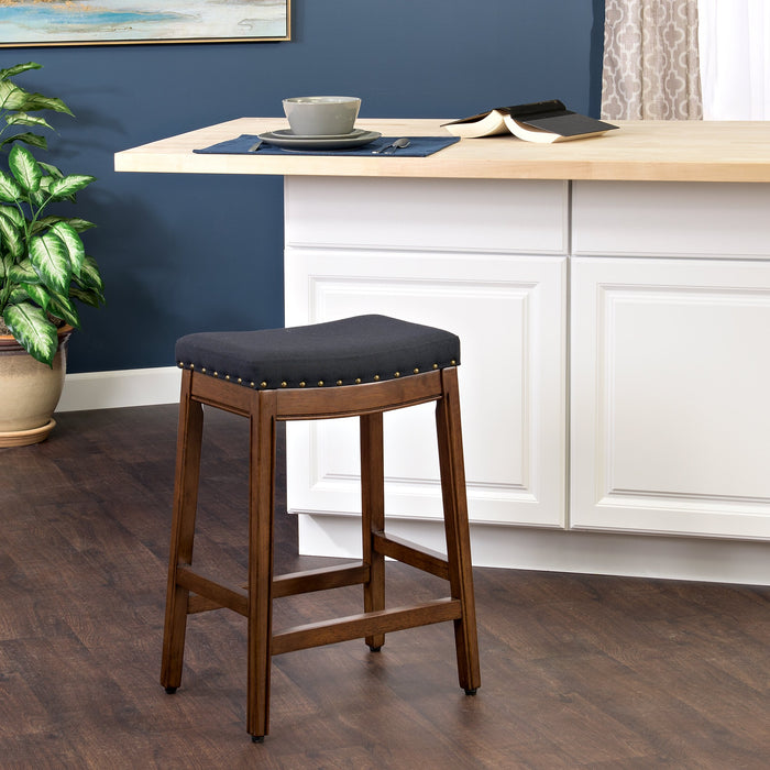 "24"" Counter Stool Saddle Seat - Navy Woven"