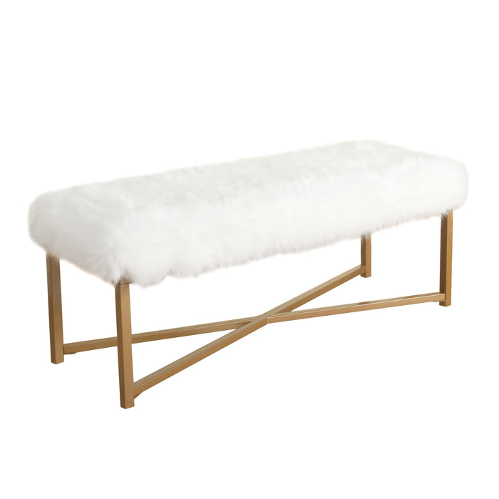 Faux Fur Bench - White