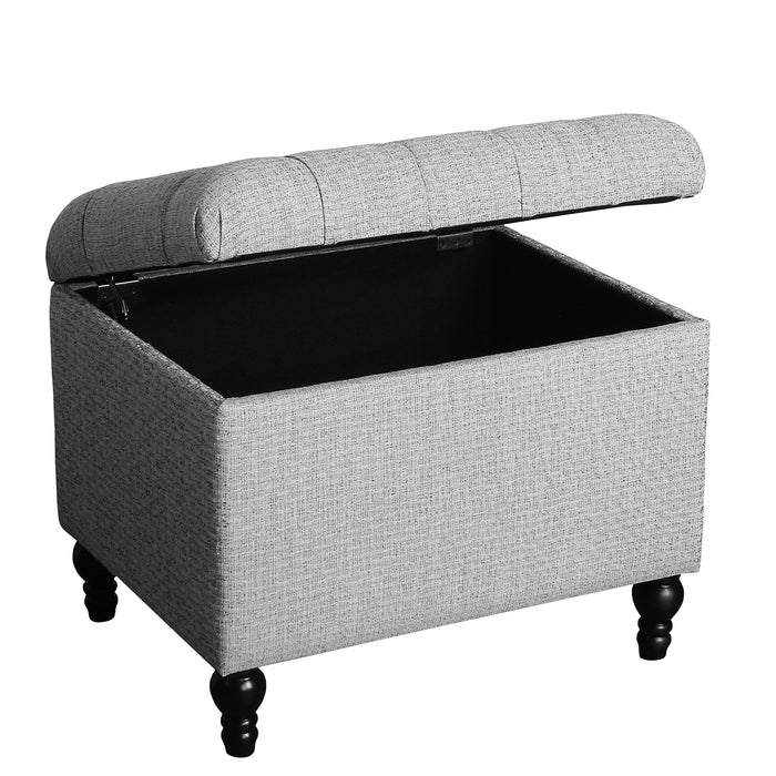 Medium Tufted Storage Ottoman - Gray Woven