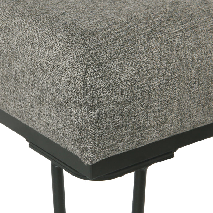 Modern Square Metal Stool  - Gray Woven