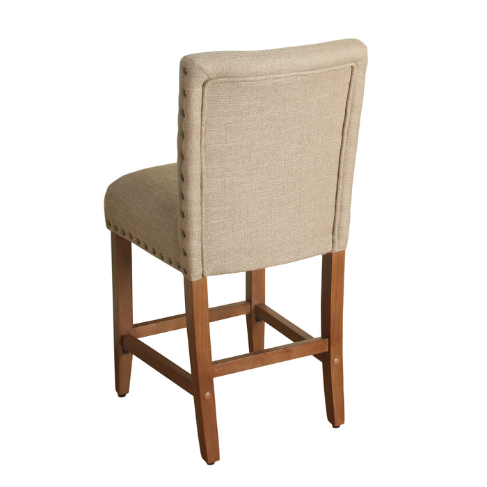 "24"" Barstool with Nail heads- Light Tan"