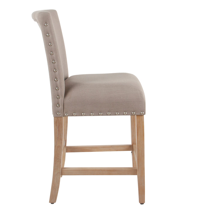 "24"" Barstool with Nail heads - Medium Tan"