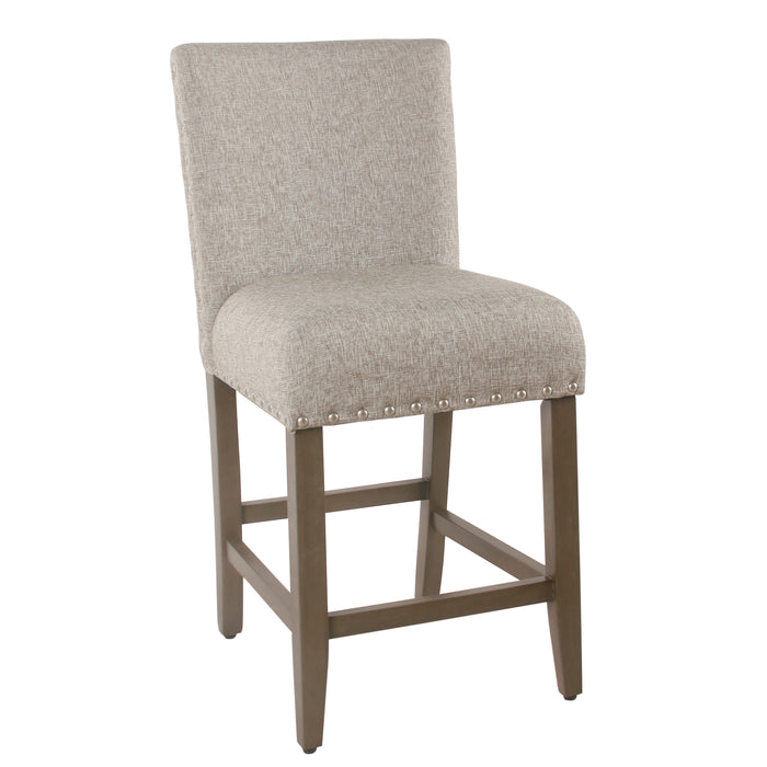 "24"" Barstool with Nail heads - Sterling Gray"
