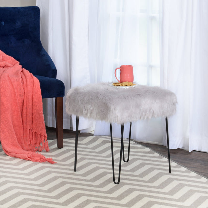 Faux Fur Square Metal Stool  - Gray