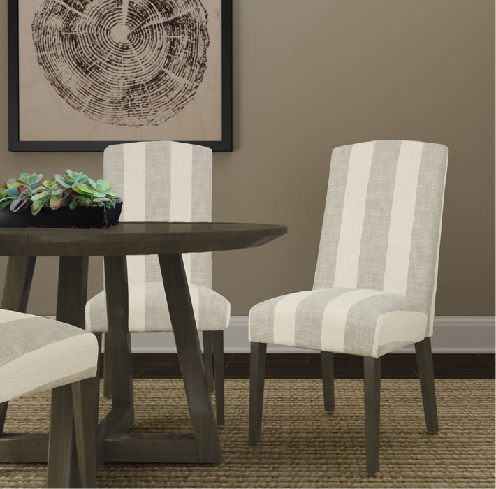 Curved Back Parsons Dining Chair - Gray Awning Stripe - Set of 2