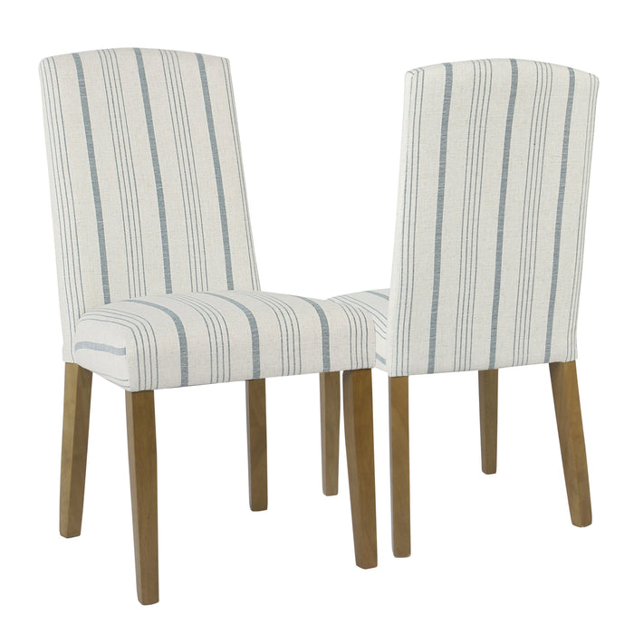 Curved Back Parsons Dining Chair - Blue Stripe - Set of 2