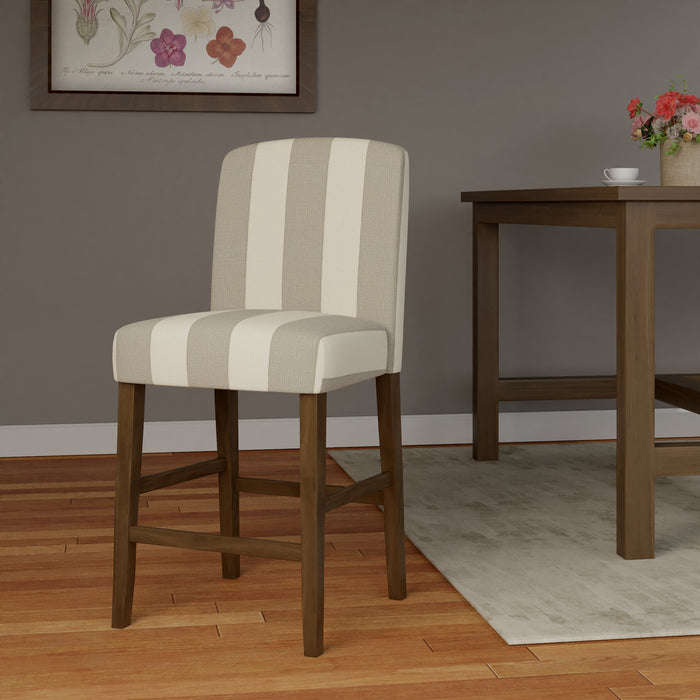 "24"" Curved Back Barstool - Gray Stripe"