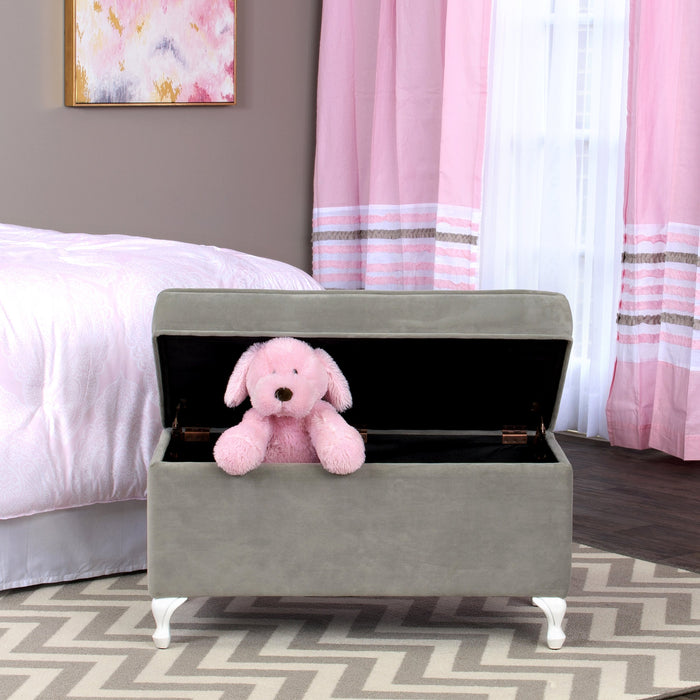 Diva Decorative Storage Bench - Gray Velvet