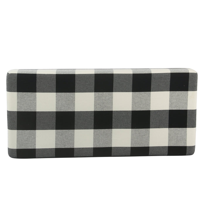 Decorative Bench with Wooden Storage - Black Plaid